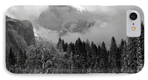 Cloaked In A Snow Storm - Monochrome Phone Case by Heidi Smith