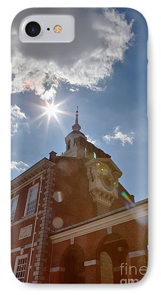 Clock At Independence Hall Phone Case by Kay Pickens