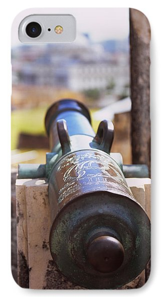 Close-up Of A Cannon At A Castle IPhone Case by Panoramic Images