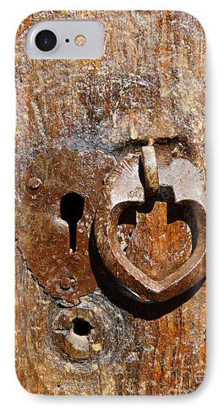 Close Up Of A Heart Shaped Lock On A Door In The Village Of Abyaneh In Iran Phone Case by Robert Preston