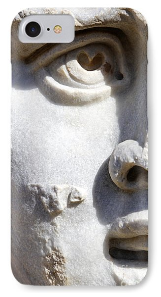 Close Up Of A Sculpted Medusa Head At The Forum Of Severus At Leptis Magna In Libya IPhone Case by Robert Preston