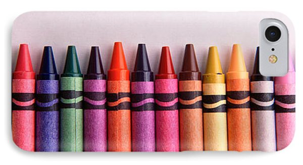 Close-up Of Assorted Wax Crayons IPhone Case by Panoramic Images