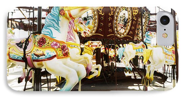Close-up Of Carousel Horses, Coney IPhone Case by Panoramic Images