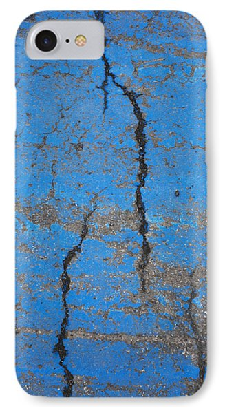 Close Up Of Cracks On A Blue Painted Phone Case by Perry Mastrovito