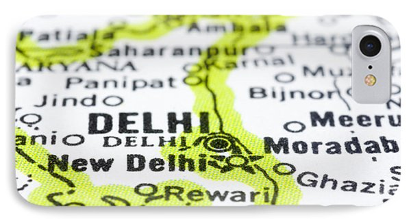 close up of Delhi on map-India IPhone Case by Tuimages