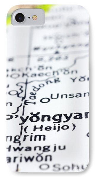 close up of Pyongyang on map-North Korea Phone Case by Tuimages