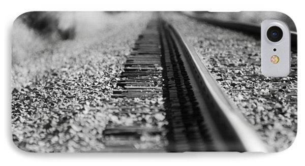 IPhone Case featuring the photograph Close Up Of Rail Road Tracks by Karen Kersey