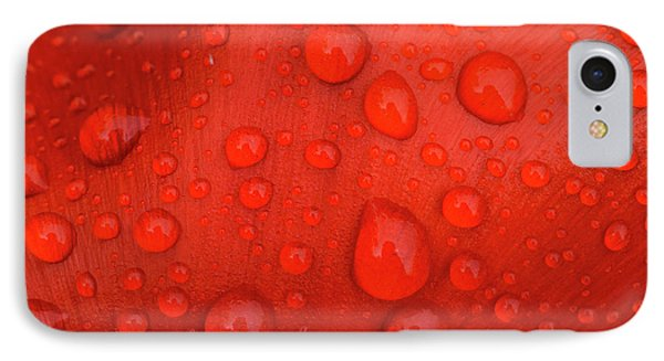 Close-up Of Rain Droplets On Red Tulip IPhone Case by Matt Freedman