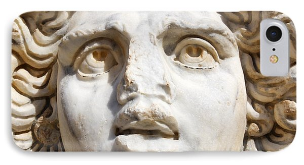 Close Up Of Sculpted Medusa Head At The Forum Of Severus At Leptis Magna In Libya IPhone Case by Robert Preston