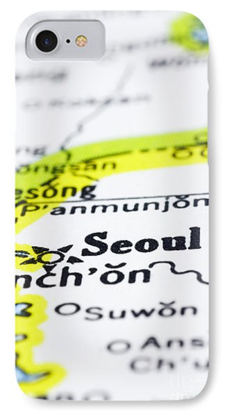 close up of Seoul on map-korea Phone Case by Tuimages