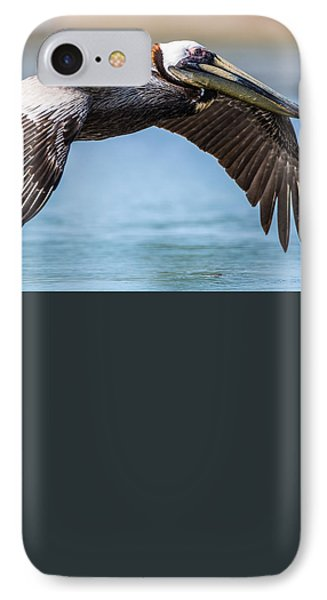 Closeup Of A Flying Brown Pelican IPhone Case by Andres Leon