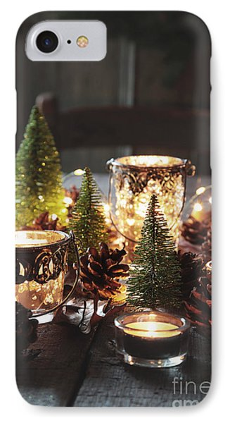 Closeup Of Candles And Decorations For The Holidays IPhone Case by Sandra Cunningham