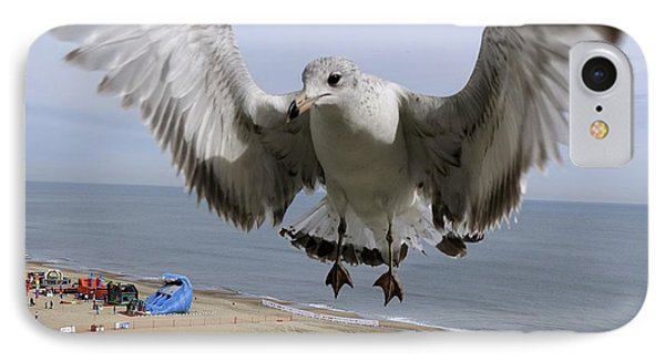 Closeup Of Hovering Seagull IPhone Case by Richard Rosenshein