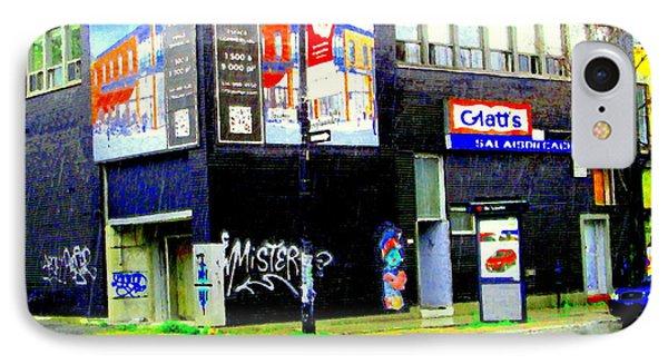 Closing Time Montreal Factory Glatts Produits Quebec Meats Graffiti Art City Scenes Carole Spandau Phone Case by Carole Spandau