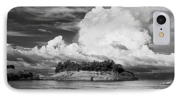 Cloud Boat And Cliffs On Corfu IPhone Case by Paul Cowan