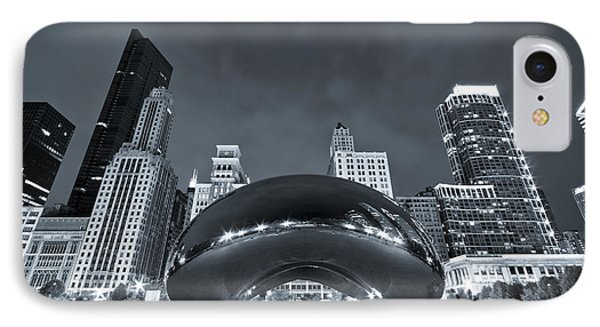Cloud Gate And Skyline - Blue Toned Phone Case by Adam Romanowicz