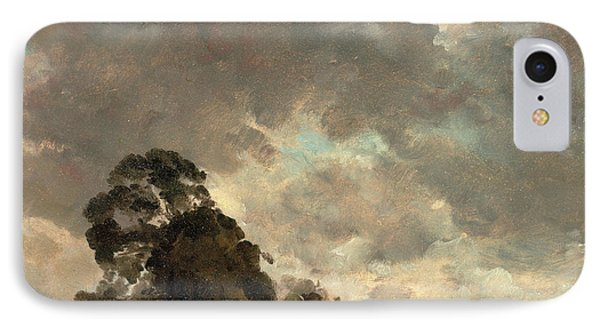 Cloud Study Landscape At Hampstead, Trees And Storm Clouds IPhone Case