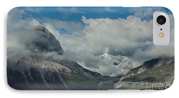 Clouds And Mist Over Canadian Rocky Mountain Peaks IPhone Case by Gerda Grice