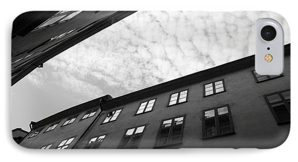 Clouds Over A Narrow Alley - Monochrome IPhone Case