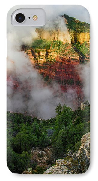 Clouds Roll Through The Incredible Rock IPhone Case by Jerry Ginsberg