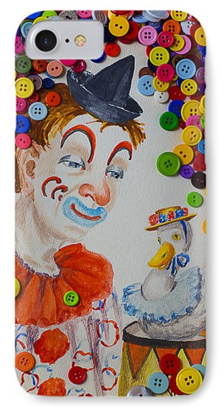 Clown And Duck With Buttons Phone Case by Garry Gay