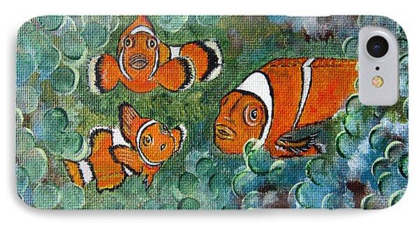 Clown Fish Art Original Tropical Painting IPhone Case by Ella Kaye Dickey