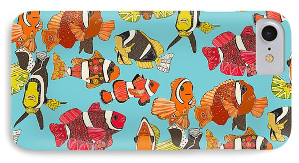 Clown Fish Blue IPhone Case by Sharon Turner