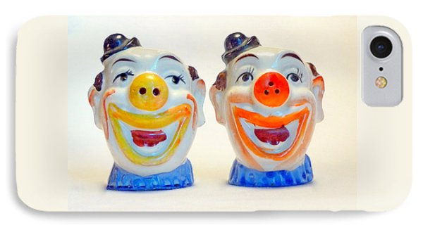 IPhone Case featuring the photograph Vintage Clown Salt And Pepper Shakers by Jim Whalen