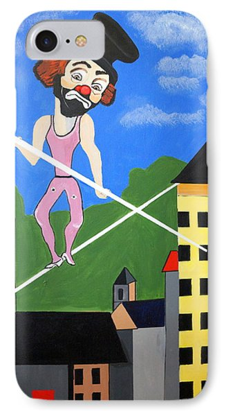 IPhone Case featuring the painting Clown Tight Roping by Nora Shepley