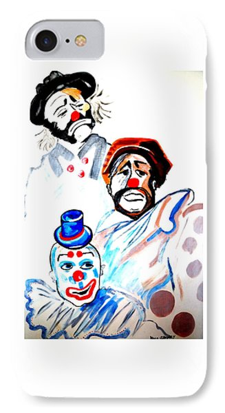 IPhone Case featuring the painting Clowns In Heaven by Nora Shepley