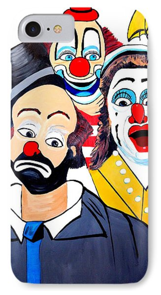IPhone Case featuring the painting Clowns In Shock by Nora Shepley