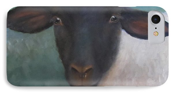 IPhone Case featuring the painting Clyde - A Suffolk Lamb Painting by Cheri Wollenberg