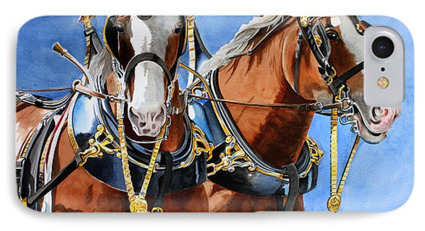 Clydesdale Duo Phone Case by Debbie Hart