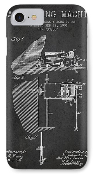 Coal Mining Machine Patent From 1903- Charcoal IPhone Case