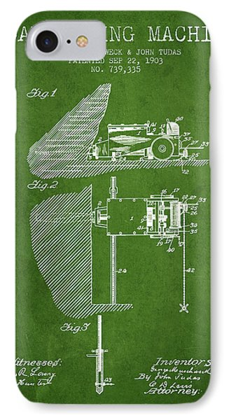 Coal Mining Machine Patent From 1903- Green IPhone Case by Aged Pixel