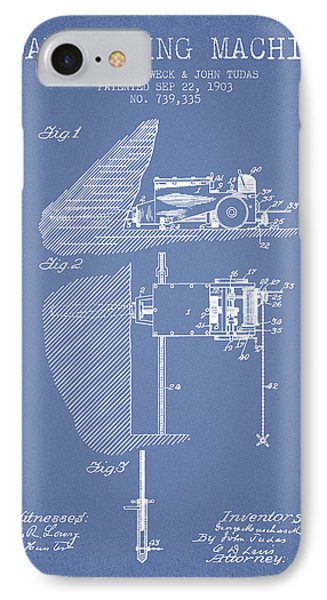 Coal Mining Machine Patent From 1903- Light Blue IPhone Case