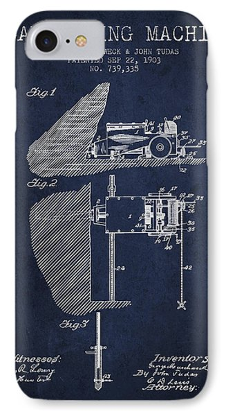 Coal Mining Machine Patent From 1903- Navy Blue IPhone Case