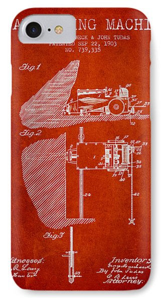 Coal Mining Machine Patent From 1903- Red IPhone Case by Aged Pixel