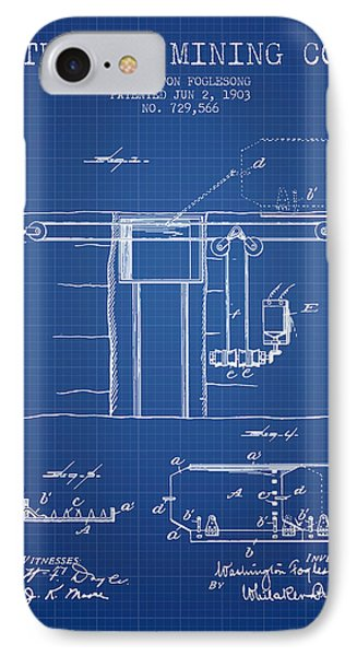 Coal Mining Patent From 1903- Blueprint IPhone Case by Aged Pixel