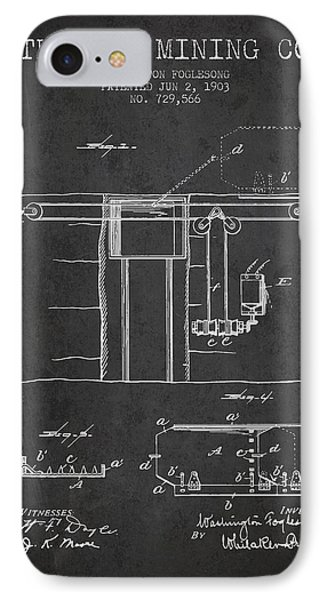 Coal Mining Patent From 1903- Charcoal IPhone Case