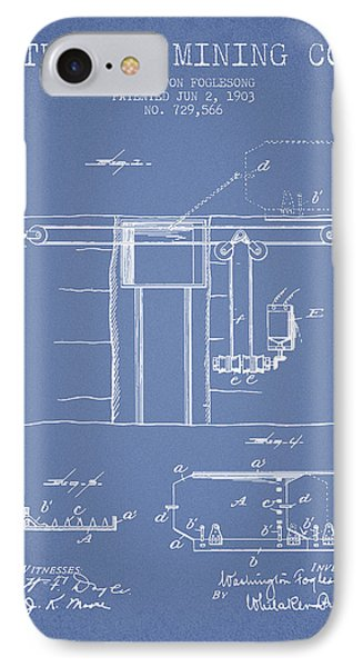 Coal Mining Patent From 1903- Light Blue IPhone Case
