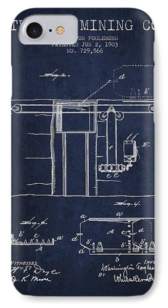 Coal Mining Patent From 1903- Navy Blue IPhone Case