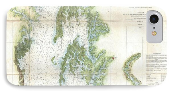 Coast Survey Chart Or Map Of The Chesapeake Bay IPhone Case by Paul Fearn