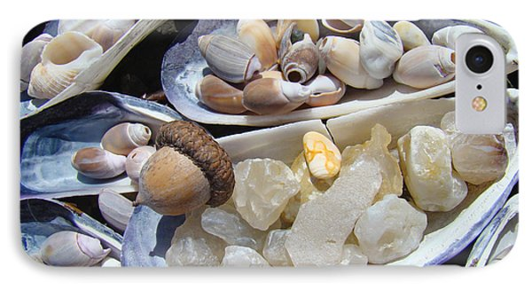 Coastal Beach Art Prints Agates Shells Acorn IPhone Case by Baslee Troutman
