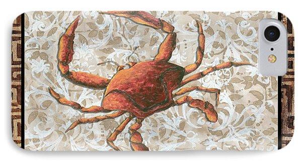 Coastal Crab Decorative Painting Greek Border Design By Madart Studios Phone Case by Megan Duncanson