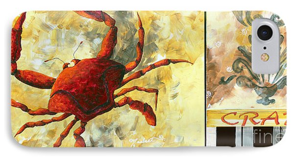 Coastal Crab Decorative Painting Original Art Coastal Luxe Crab By Madart Phone Case by Megan Duncanson