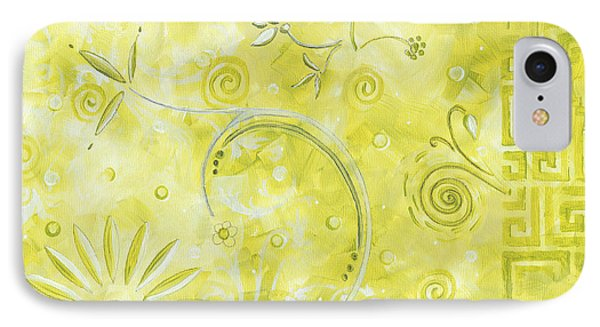 Coastal Decorative Citron Green Floral Greek Checkers Pattern Art Green Whimsy By Madart IPhone Case by Megan Duncanson