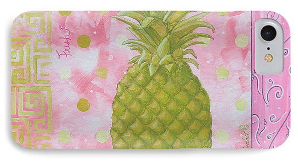 Coastal Decorative Pink Green Floral Greek Pattern Fruit Art Fresh Pineapple By Madart Phone Case by Megan Duncanson