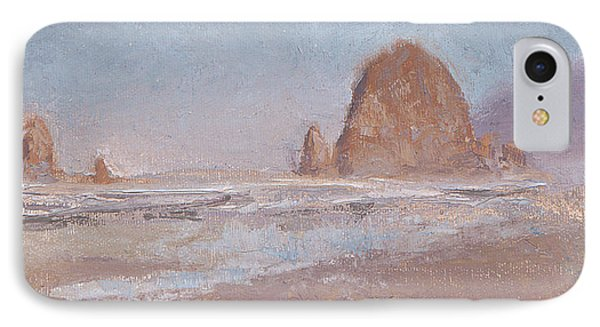 Coastal Escape  Cannon Beach Oregon And Haystack Rock  IPhone Case by Karen Whitworth