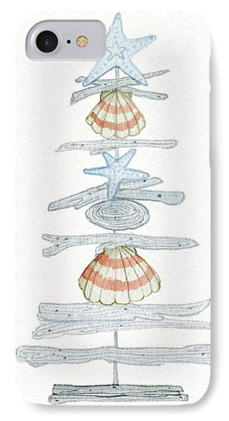 Coastal Holiday Tree I Red IPhone Case by Kathleen Parr Mckenna